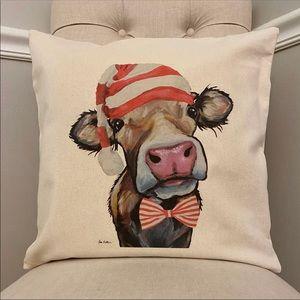 Farmhouse Christmas Cow Pillow Cover